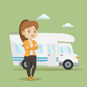 Young caucasian woman enjoying her vacation in motor home. Happy woman standing with arms crossed in front of motor home. Woman traveling by motor home. Vector flat design illustration. Square layout.