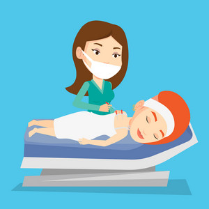 Young caucasian woman getting acupuncture treatment in a spa center. Acupuncturist doctor performing acupuncture therapy on back of a customer in salon. Vector flat design illustration. Square layout.