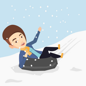 Young caucasian woman having fun while sledding on snow rubber tube in mountains. Woman riding on snow rubber tube. Woman sitting in snow rubber tube. Vector flat design illustration. Square layout.