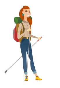 Young caucasian woman hiker walking with trekking sticks. Woman hiker holding trekking sticks. Girl backpacker hiking with trekking sticks. Vector flat design illustration isolated on white background