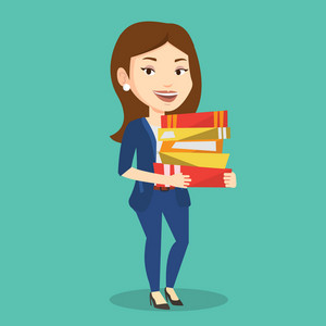 Young caucasian woman holding a pile of educational books in hands. Female student carrying huge stack of books. Student preparing for exam with books. Vector flat design illustration. Square layout.