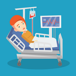 Young caucasian woman lying in bed in hospital. Patient resting in hospital bed with heart rate monitor. Patient during blood transfusion procedure. Vector flat design illustration. Square layout.