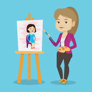 Young caucasian woman painting a female model on canvas. Creative smiling female artist drawing on an easel. Cheerful artist working on painting. Vector flat design illustration. Square layout.
