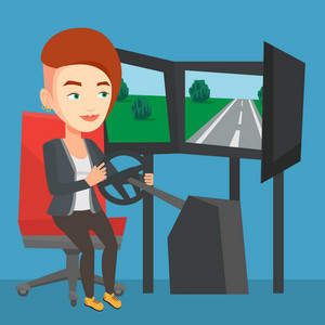 Young caucasian woman playing video game with gaming wheel. Happy smiling gamer driving autosimulator in game room. Woman playing car racing video game. Vector flat design illustration. Square layout.