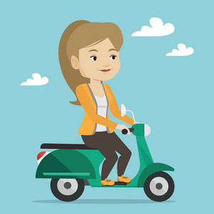 Young caucasian woman riding a scooter outdoor. Smiling woman traveling on a scooter. Happy woman enjoying her trip on a scooter. Vector flat design illustration. Square layout.