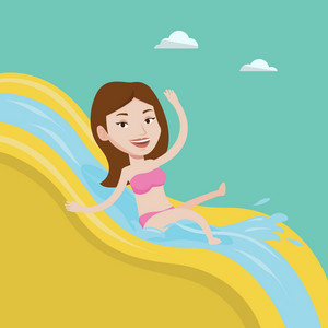 Young caucasian woman riding down a waterslide at the aquapark. Happy woman having fun on a water slide in waterpark. Girl going down a water slide. Vector flat design illustration. Square layout.