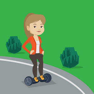Young caucasian woman riding on self-balancing electric scooter in the park. Cheerful woman riding on gyroscooter outdoor. Woman standing on gyroboard. Vector flat design illustration. Square layout