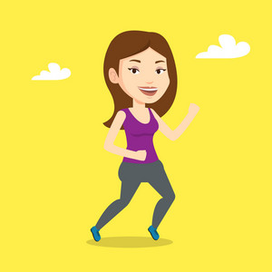 Young caucasian woman running. Happy female runner jogging. Full length of a smiling female athlete running. Sportswoman in sportswear running. Vector flat design illustration. Square layout.