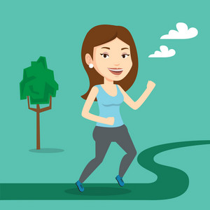 Young caucasian woman running. Happy female sporty runner running outdoors. Smiling sportswoman running in the park. Vector flat design illustration. Square layout.