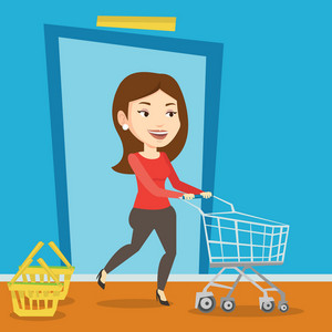 Young caucasian woman running into the shop with shopping trolley. Woman rushing to shopping. Cheerful customer pushing an empty shopping trolley. Vector flat design illustration. Square layout.