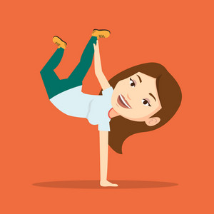 Young caucasian woman showing her skills in break dance. Happy breakdance dancer doing handstand. Young smiling woman dancing. Strong woman breakdancing. Vector flat design illustration. Square layout