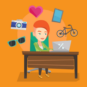 Young caucasian woman using laptop for online shopping. Happy woman doing online shopping. Woman buying in online shop. Girl buying on internet. Vector flat design illustration. Square layout.