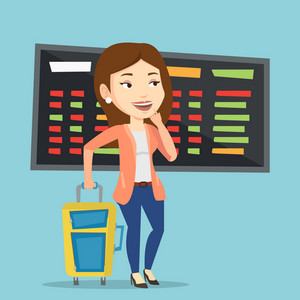 Young caucasian woman waiting for a flight at the airport. Passenger with suitcase standing at the airport on the background of departure board. Vector flat design illustration. Square layout.