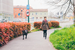 young caucasian woman walking outdoor in a city park with her dog on a leash - friendship, leisure, pet concept