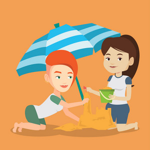 Young caucasian women making sand castle on the beach under beach umbrella. Smiling friends building sand castle. Tourism and beach holiday concept. Vector flat design illustration. Square layout.