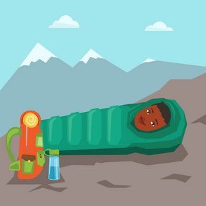 Young cheerful african-american woman wrapped up in a mummy sleeping bag. Happy smiling woman relaxing in a sleeping bag while camping in the mountains. Vector flat design illustration. Square layout.