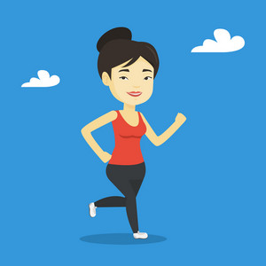 Young cheerful asian woman running. Happy female runner jogging. Full length of a smiling female athlete running. Sportswoman in sportswear running. Vector flat design illustration. Square layout.
