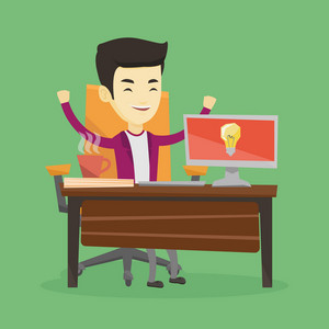 Young cheerful business man working on computer on a new business idea. Asian happy businessman having a business idea. Successful business idea concept. Vector flat design illustration. Square layout
