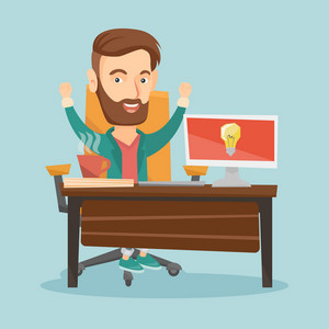 Young cheerful business man working on computer on a new business idea. Caucasian happy man having a business idea. Successful business idea concept. Vector flat design illustration. Square layout.