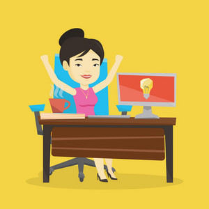 Young cheerful business woman working on computer on a business idea. Asian happy businesswoman having a business idea. Successful business idea concept. Vector flat design illustration. Square layout