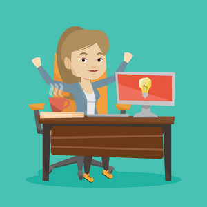 Young cheerful businesswoman working on computer on a new business idea. Caucasian happy woman having a business idea. Successful business idea concept. Vector flat design illustration. Square layout.