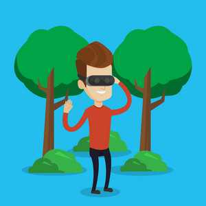 Young cheerful caucasian gamer wearing virtual reality headset in the park. Happy man using virtual reality glasses and playing videogame in the park. Vector flat design illustration. Square layout.