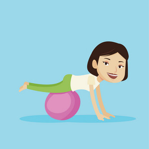 Young cheerful caucasian woman exercising with fit ball. Smiling sporty woman working out with exercise ball. Concept of healthy lifestyle and sport. Vector flat design illustration. Square layout