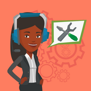 Young cheerful operator of technical support wearing headphone set. Friendly technical support operator with speech square with screwdriver and wrench. Vector flat design illustration. Square layout.