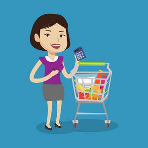 Young cheerful woman standing near supermarket trolley full with products and holding a calculator in hand. Woman checking prices with calculator. Vector flat design illustration. Square layout.