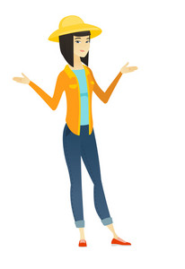 Young confused female farmer with spread arms. Full length of confused asian farmer. Confused female farmer shrugging her shoulders. Vector flat design illustration isolated on white background.