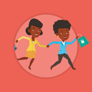 Young customers rushing to promotion and sale. People rushing on sale to the shop. Women running in a hurry to the store on sale. Vector flat design illustration in the circle isolated on background.