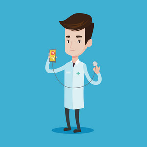 Young doctor holding smartphone with application for measuring heart rate pulse. Doctor showing app for checking heart. Vector flat design illustration isolated on blue background. Square layout.