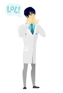 Young doctor in medical gown laughing out loud. Doctor and speech bubble with text - lol. Doctor laughing out loud and covering his mouth. Vector flat design illustration isolated on white background.