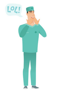 Young doctor in uniform laughing out loud. Doctor and speech bubble with text - lol. Doctor laughing out loud and covering his mouth. Vector flat design illustration isolated on white background.