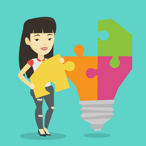 Young excited asian student takes apart idea light bulb made of puzzle. Happy student standing near the idea bulb. Smiling student having great idea. Vector flat design illustration. Square layout.