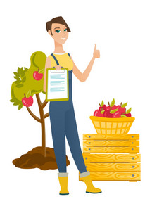 Young farmer holding business papers and giving thumb up on the background of tree and basket of apples. Farmer showing business papers. Vector flat design illustration isolated on white background.