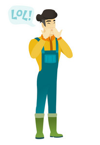 Young farmer in coveralls laughing out loud. Farmer and speech bubble with text - lol. Farmer laughing out loud and covering his mouth. Vector flat design illustration isolated on white background.