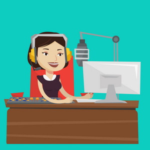 Young female dj working in front of microphone, computer and mixing console on the radio. Cheerful news presenter in headset working on a radio station. Vector flat design illustration. Square layout.
