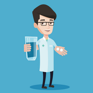 Young friendly pharmacist holding in hands a glass of water and pills. Smiling pharmacist in medical gown giving medication. Concept of health care. Vector flat design illustration. Square layout.