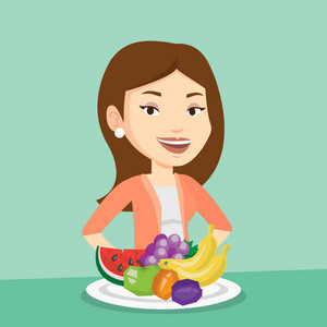 Young friendly woman standing in front of table with fresh fruits. Smiling woman with plate full of fruits. Caucasian woman eating fresh healthy fruits. Vector flat design illustration. Square layout.