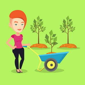 Young gardener pushing wheelbarrow with tree and dirt in the park. Caucasian female gardener with wheelbarrow on a background of newly planted trees. Vector flat design illustration. Square layout.