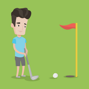 Young golfer hitting the ball. Professional golfer on golf course. Young man playing golf. Vector flat design illustration. Square layout.