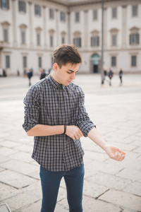 young handsome alternative dark model man in town