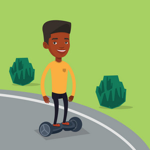 Young happy african-american man riding on self-balancing electric scooter in the park. Cheerful man standing on self-balancing electric scooter outdoor. Vector flat design illustration. Square layout