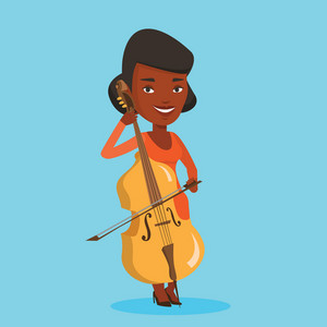 Young happy african-american musician playing cello. Cellist playing classical music on cello. Young smiling female musician with cello and bow. Vector flat design illustration. Square layout.
