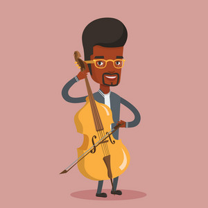 Young happy african-american musician playing cello. Cellist playing classical music on cello. Young smiling male musician with cello and bow. Vector flat design illustration. Square layout.