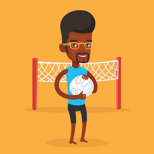 Young happy african-american sportsman holding volleyball ball in hands. Smiling beach volleyball player standing on the background of volleyball net. Vector flat design illustration. Square layout.