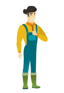 Young happy asian farmer in coveralls giving thumb up. Full length of smiling farmer with thumb up. Cheerful farmer showing thumb up. Vector flat design illustration isolated on white background.