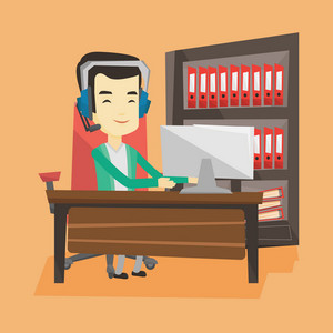 Young happy asian man using computer for playing games. Cheerful man in headphones playing online games. Smiling man playing computer game. Vector flat design illustration. Square layout.