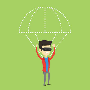 Young happy asian man wearing virtual reality glasses and flying with parachute. Excited man in vr headset having fun while flying in virtual reality. Vector flat design illustration. Square layout.